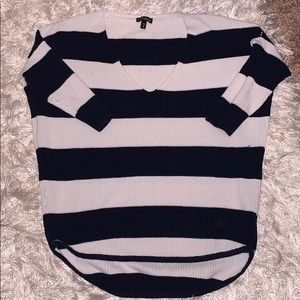 Express Navy Blue & White Sweater Top
